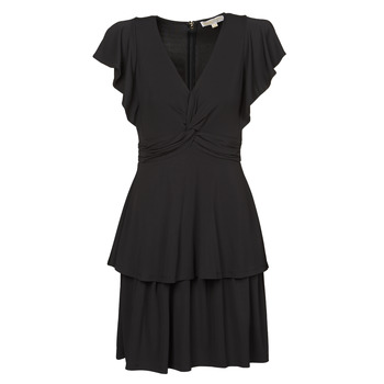 material Women Short Dresses MICHAEL Michael Kors TWIST RUFFLE DRESS Black
