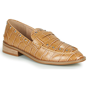Shoes Women Loafers Vanessa Wu MOCASSINS EFFET CROCO À CLOUS Brown
