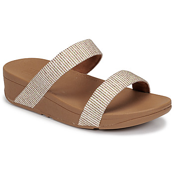 Shoes Women Sandals FitFlop LOTTIE GLITTER STRIPE SLIDES Beige