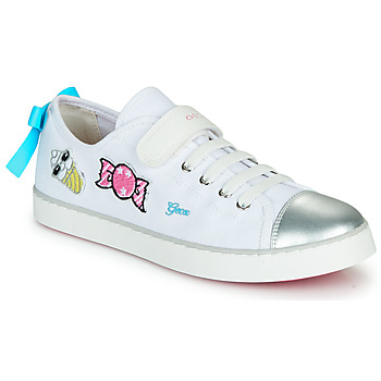 Shoes Low top trainers Geox JR CIAK FILLE White / Silver