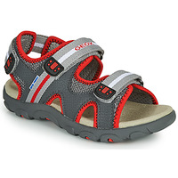 Shoes Boy Sandals Geox JR SANDALE STRADA Grey / Red