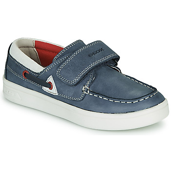 Shoes Boy Loafers Geox J DJROCK GARÇON Blue / White