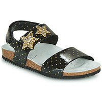 Shoes Girl Sandals Geox J ADRIEL GIRL Black / Gold
