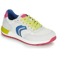Shoes Girl Low top trainers Geox J ALBEN GIRL White / Blue / Pink