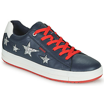 Shoes Low top trainers Geox J REBECCA GIRL Blue / Red / Silver