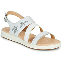 Shoes Sandals Geox J SANDAL REBECCA GIR White / Silver