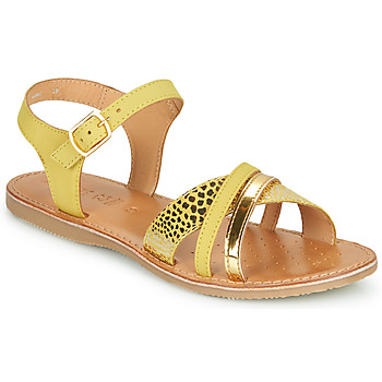 Shoes Women Sandals Geox J SANDAL EOLIE GIRL Yellow / Gold