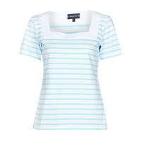 material Women short-sleeved t-shirts Armor Lux MARINIERE ENCOLURE CARREE White