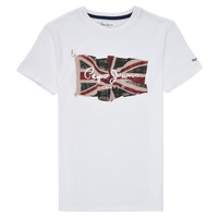 material Boy short-sleeved t-shirts Pepe jeans FLAG LOGO White