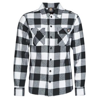 material Men long-sleeved shirts Dickies NEW SACRAMENTO SHIRT BLACK Black / White
