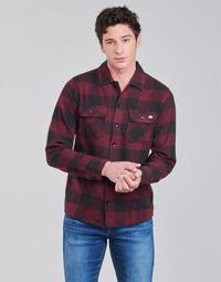 material Men long-sleeved shirts Dickies NEW SACRAMENTO SHIRT MAROON Bordeaux / Black