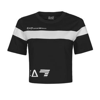 material Women short-sleeved t-shirts Emporio Armani EA7 3KTT05-TJ9ZZ-1200 Black / White