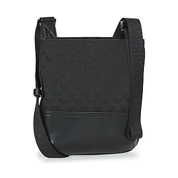 Bags Men Pouches / Clutches Emporio Armani PIATTINA OMNIA JACQUARD - MESSENGER BAG Black