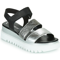 Shoes Women Sandals Gabor 6461061 Black / White / Silver