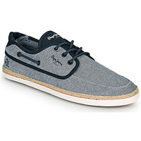 Shoes Men Espadrilles Pepe jeans MAUI BOAT CHAMBRAY Marine / Grey