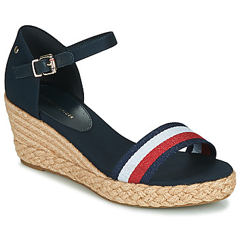 Shoes Women Sandals Tommy Hilfiger SHIMMERY RIBBON MID WEDGE SANDAL Marine