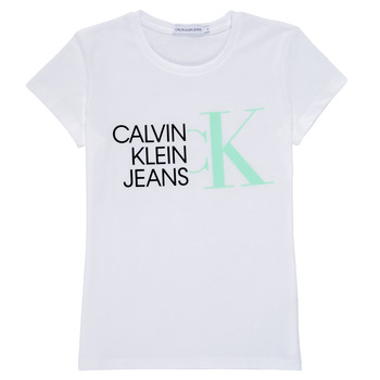 material Girl short-sleeved t-shirts Calvin Klein Jeans HYBRID LOGO SLIM T-SHIRT White