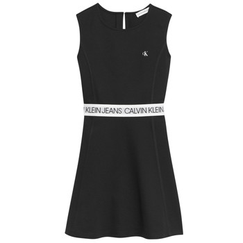 material Girl Short Dresses Calvin Klein Jeans LOGO TAPE PUNTO SLEEVELESS DRESS Black