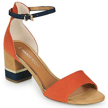 Shoes Women Sandals Marco Tozzi TERRA Orange / Marine / Beige