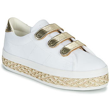 Shoes Women Low top trainers No Name MALIBU STRAPS White / Gold