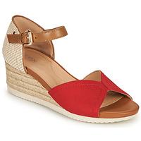 Shoes Women Sandals Geox D ISCHIA CORDA D Red / Cognac