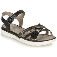 Shoes Women Sandals Geox D SANDAL HIVER A Black / Silver
