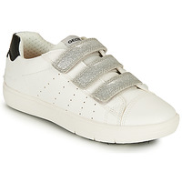 Shoes Girl Low top trainers Geox SILENEX GIRL White / Silver / Black