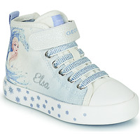 Shoes Girl High top trainers Geox JR CIAK GIRL White / Blue