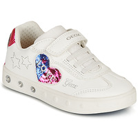 Shoes Girl Low top trainers Geox J SKYLIN GIRL I White / Black / Pink