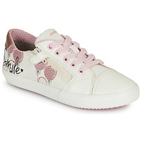 Shoes Girl Low top trainers Geox GISLI GIRL White / Pink