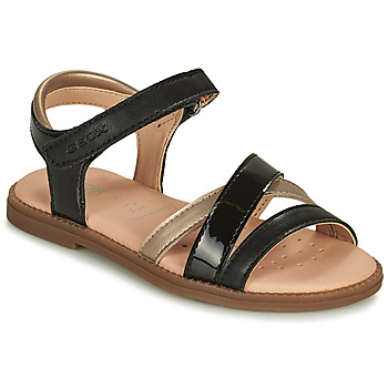 Shoes Girl Sandals Geox SANDAL KARLY GIRL Black / Gold