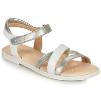 Shoes Girl Sandals Geox SANDAL KARLY GIRL White / Silver
