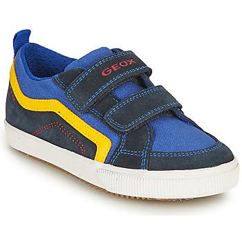 Shoes Boy Low top trainers Geox J ALONISSO BOY A Marine / Yellow