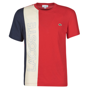 material Men short-sleeved t-shirts Lacoste SUZZA Marine / Beige / Red