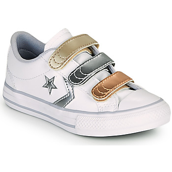 Shoes Girl Low top trainers Converse STAR PLAYER 3V METALLIC LEATHER OX White