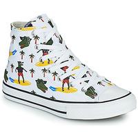 Shoes Boy High top trainers Converse CHUCK TAYLOR ALL STAR CROCO SURF HI White / Green