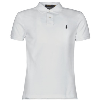 material Men short-sleeved polo shirts Polo Ralph Lauren POLO CINTRE SLIM FIT EN COTON BASIC MESH LOGO PONY PLAYER White