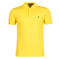 material Men short-sleeved polo shirts Polo Ralph Lauren POLO CINTRE SLIM FIT EN COTON STRETCH MESH LOGO PONY PLAYER Yellow