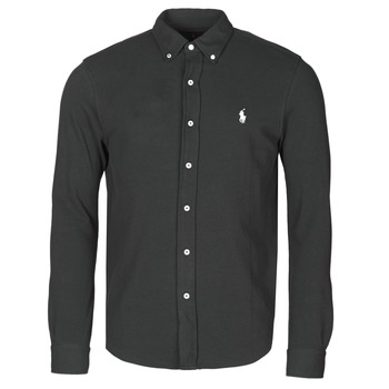 material Men long-sleeved shirts Polo Ralph Lauren CHEMISE AJUSTEE COL BOUTONNE EN POLO FEATHERWEIGHT LOGO PONY PLA Black