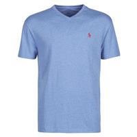 material Men short-sleeved t-shirts Polo Ralph Lauren T-SHIRT AJUSTE COL V EN COTON LOGO PONY PLAYER Blue / Pale / Royal / Heather