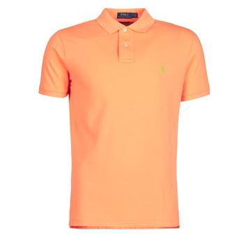 material Men short-sleeved polo shirts Polo Ralph Lauren POLO AJUSTE DROIT EN COTON BASIC MESH LOGO PONY PLAYER Orange