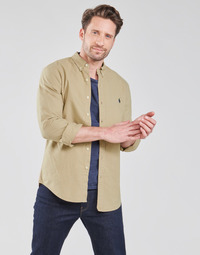 material Men long-sleeved shirts Polo Ralph Lauren CHEMISE CINTREE SLIM FIT EN OXFORD LEGER TYPE CHINO COL BOUTONNE Beige