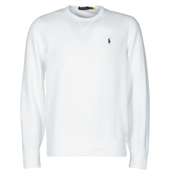material Men sweaters Polo Ralph Lauren SWEAT COL ROND MOLTONE EN COTON LOGO PONY PLAYER White