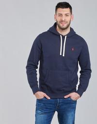 material Men sweaters Polo Ralph Lauren SWEAT A CAPUCHE MOLTONE EN COTON LOGO PONY PLAYER Blue