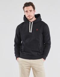 material Men sweaters Polo Ralph Lauren SWEAT A CAPUCHE MOLTONE EN COTON LOGO PONY PLAYER Black