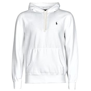 material Men sweaters Polo Ralph Lauren SWEAT A CAPUCHE MOLTONE EN COTON LOGO PONY PLAYER White