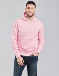material Men sweaters Polo Ralph Lauren SWEAT A CAPUCHE MOLTONE EN COTON LOGO PONY PLAYER Pink