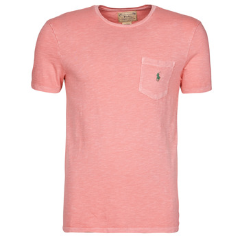 material Men short-sleeved t-shirts Polo Ralph Lauren T-SHIRT AJUSTE COL ROND EN COTON LOGO PONY PLAYER Pink