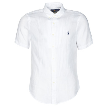 material Men short-sleeved shirts Polo Ralph Lauren CHEMISE CINTREE EN LIN COL BOUTONNE LOGO PONY PLAYER White