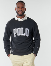 material Men sweaters Polo Ralph Lauren SWEATSHIRT COL ROND INSCIRPTION POLO ET PONY PLAYER SUR LA MANCH Black